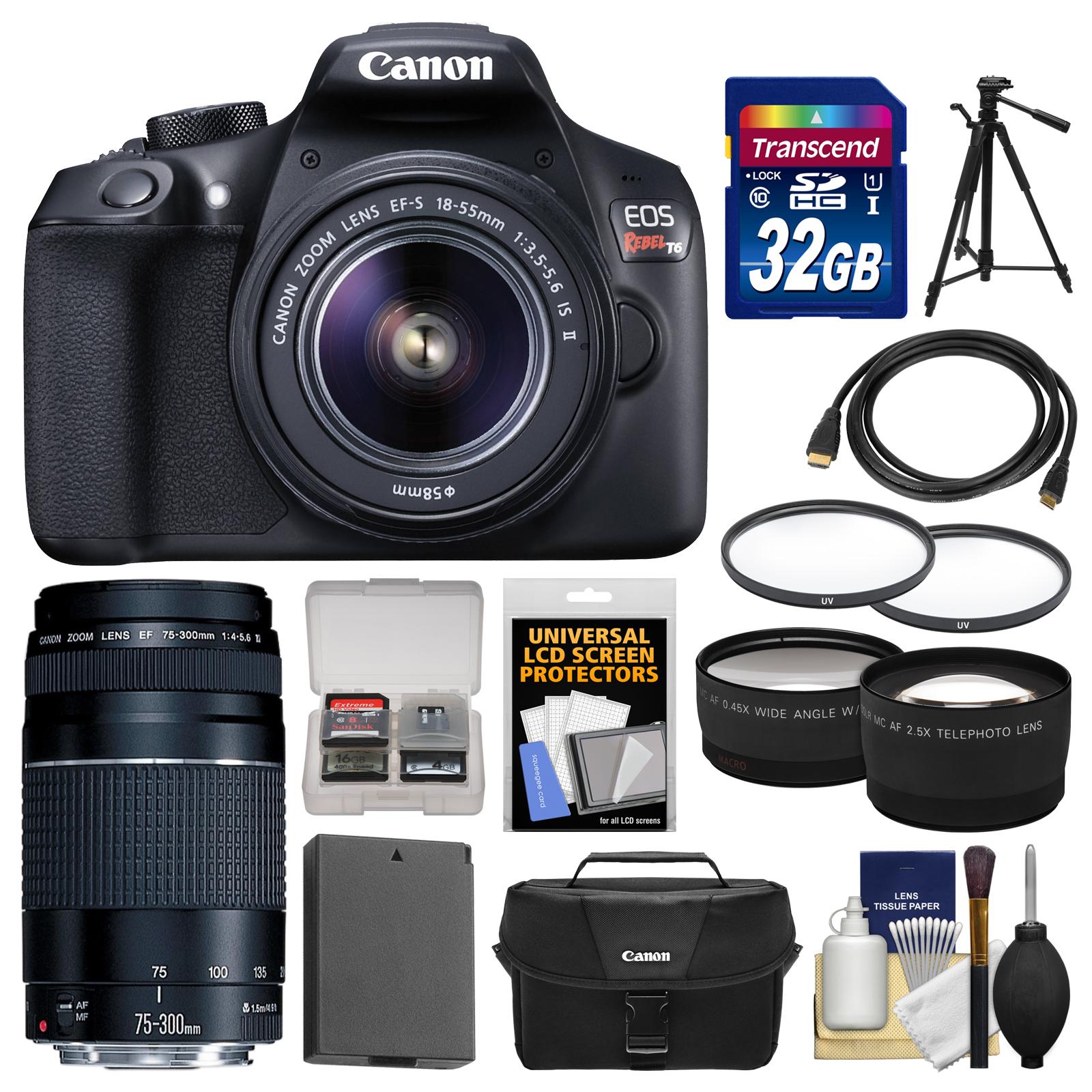 Canon EOS Rebel T6 Wi - Fi Digital SLR Camera & EF - S 18 - 55mm IS II with 75 - 300mm III Lens + 32GB Card + Case + Battery + Tele / Wide Lens Kit