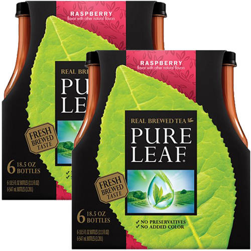 Pure Leaf Raspberry Real Brewed Tea, 18.5 fl oz, 6 pack (Pack of 2)