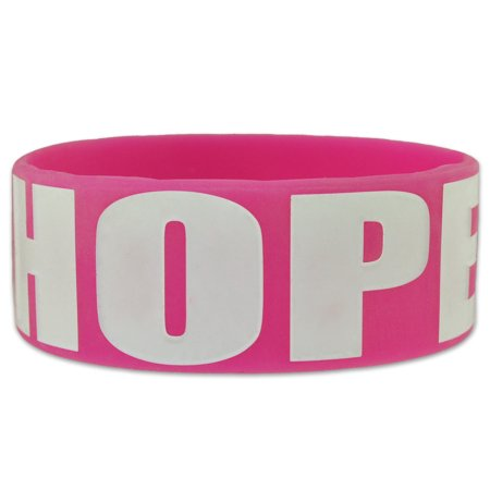 PinMart's Pink HOPE Breast Cancer Awareness Wide Rubber Silicone (Breast Cancer Silicone Bracelets)