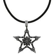 Carolina Glamour Collection Pewter Viking Star Pendant on Black Leather Necklace