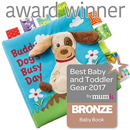 Taggies Touch & Feel Soft Cloth Book with Crinkle Paper and Squeaker, Buddy Dog Encourage your child\'s love of reading with a sweet story from Taggies soft books. At 6 x 6-inches with 8 fabric pages and a soft applique on the cover, Taggies Soft Books are perfect for story time with baby.