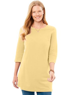Woman Within Women's Plus Size Perfect Three-Quarter-Sleeve Scoop-Neck Tunic