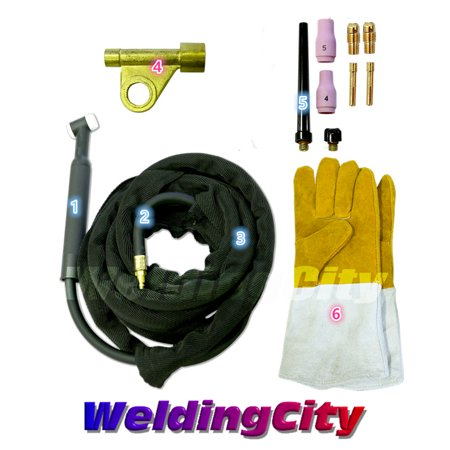 (WeldingCity WP-9F-25R Complete Ready-to-Go Package Flex-Head 25' 125 Amp Air-Cooled TIG Welding Torch)