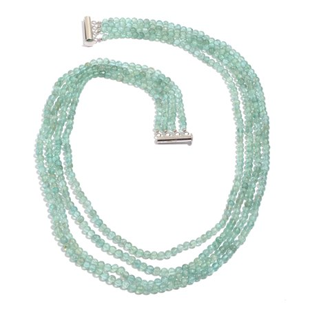Apatite Platinum Plated Silver Blue Strand Necklace for Women Jewelry Gift Size 20