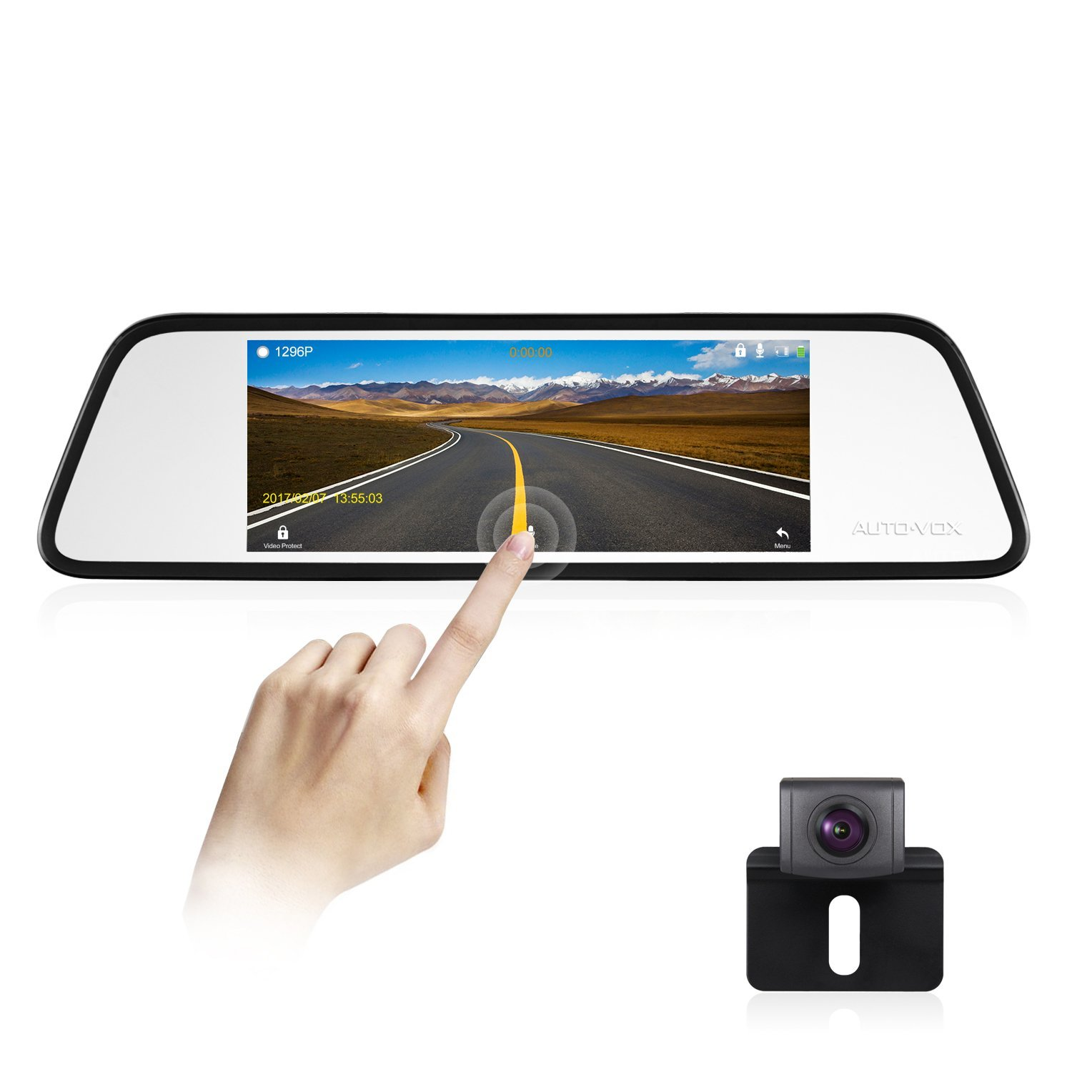 AUTO-VOX M8 1296P 8.68'' LCD Large Touch Screen Mirror Dash Cam Backup Camera Kit 180?Horizontal View Angle Back up Car Camera, Lane Departure Warning System, Security Alarm & Motion Detection