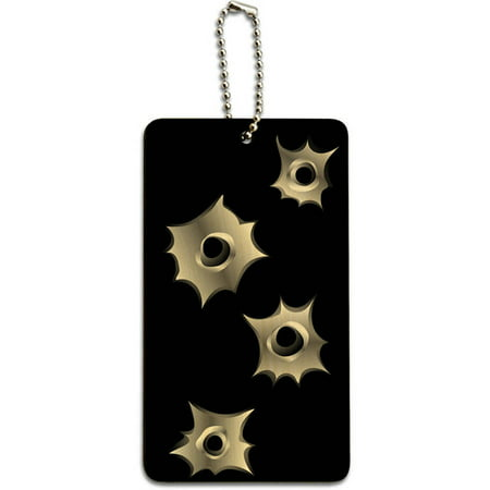 Bullet Holes Rifle Gun Ammo Wood ID Tag Luggage Card for Suitcase or Carry-On
