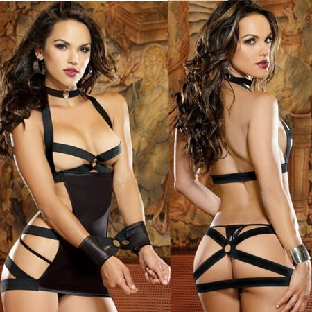 6a064f8dfa 1 Black Polyester Ms.Chest A Three-Piece Suit Sexy Temptations Lingerie -  Walmart.com