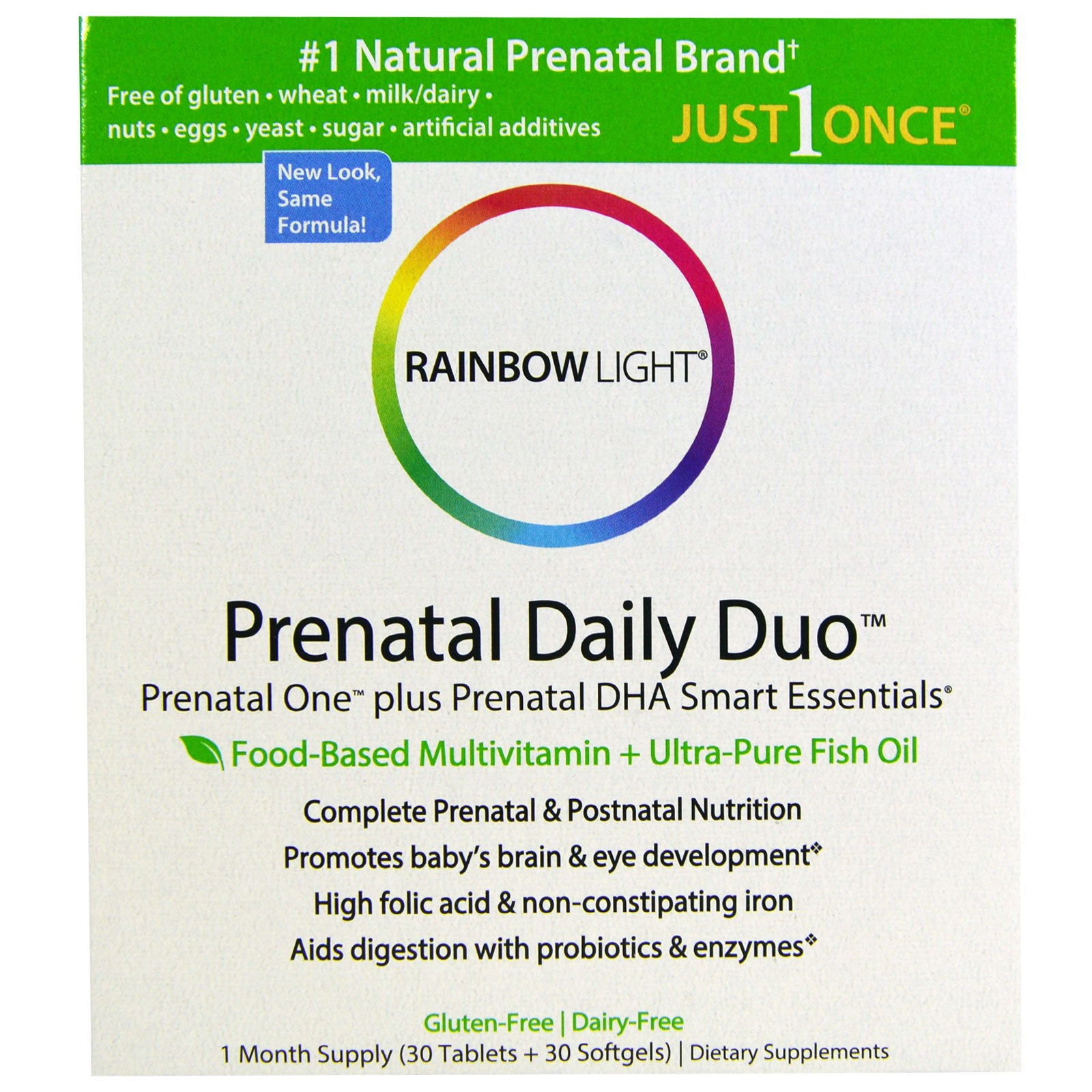 Rainbow Light, Prenatal Daily Duo, Prenatal One plus Prenatal DHA Smart Essentials, 1 Month Supply (30 Tablets + 30 Softgels)(pack of 4)