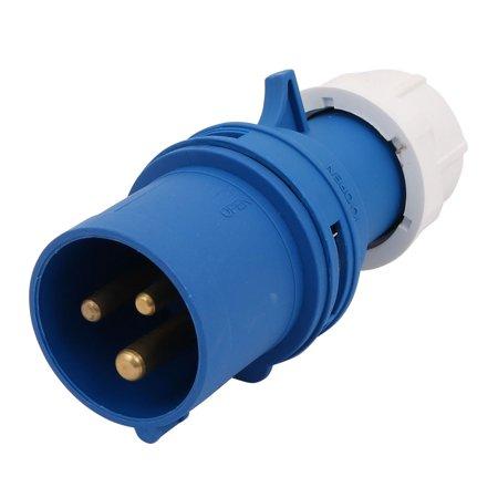 AC220-250V 16A 2P+E 3 bornes IP44 Connecteur male bleu industriel - image 2 de 2