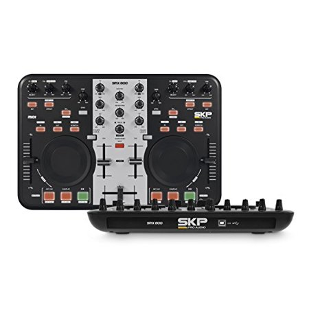 SKP Pro Audio SMX-800 DJ Controller 2 Channel Midi Controller with Soundcard, Virtual Dj and RCA Cables, Full