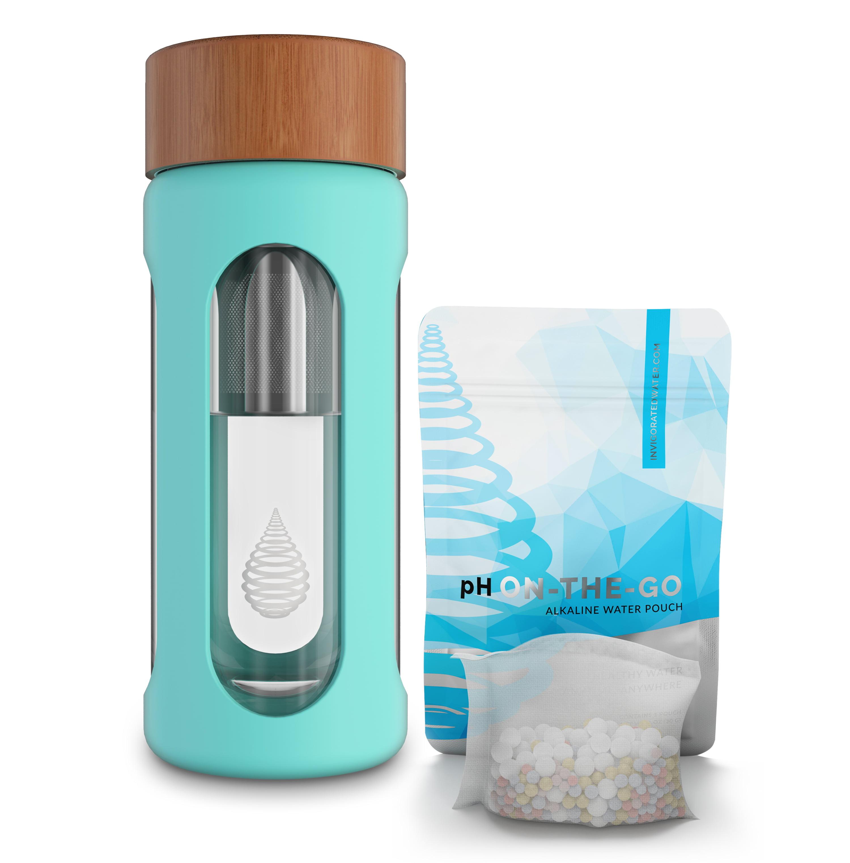 pH Hydrate Glass Alkaline Water Filter Bottle - Portable Alkaline Water Filter Ionizer - Filtered Water Bottle - Increase pH, Reduce Fluoride, Remove Heavy Metals & Chlorine, New 2018 (10oz/300ml)