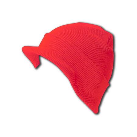 752d692ca762d NEW CUFF HOT RED Beanie Visor Skull Cap HAT - image 1 of 1 ...