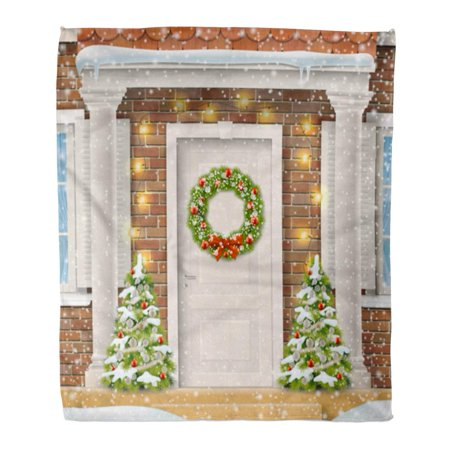 Decorate Door For Christmas (SIDONKU Throw Blanket 50x60 Inches Entrance to The Suburban House Decorated Christmas Wreath Door Garland Warm Flannel Soft Blanket for Couch Sofa)