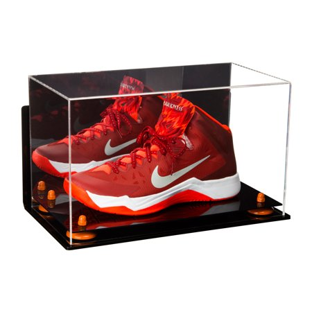 Deluxe Acrylic Large Shoe Display Case for Basketball Shoe Soccer Cleat Football Cleat with Orange Risers, Mirror and Wall Mount (A013-OR)