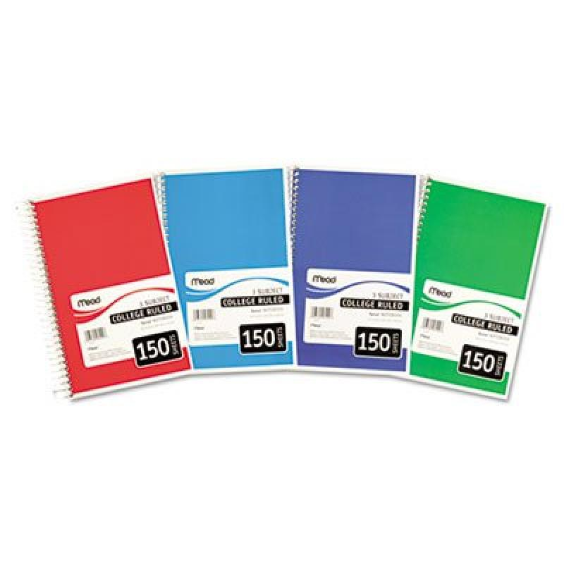 Spiral Bound Notebook, College Rule, 6 x 9-1/2, White, 3 Subject 150 Sheets, Sold as 1 Each