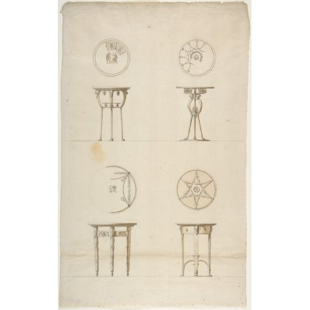 "Designs for Four Decorated Tables Poster Print by Antonio Asprucci (Italian Rome 1723  ""1808 Rome) (18 x - Italian Table Decorating Ideas"