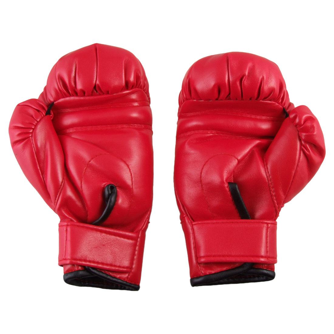 Unique Bargains Hook Loop Fastener Designed Faux Leather   Boxing Gloves