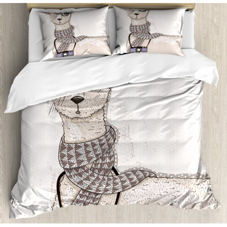 Teen Room Duvet Cover Set, Hipster Lama Figure with Hair Style and Camera Artist Animal Humorous Graphic, Decorative Bedding Set with Pillow Shams, Beige Tan, by Ambesonne ()