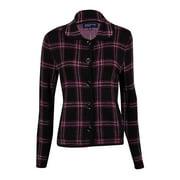 Jones New York Women's Plaid Knit Buttoned Cardigan