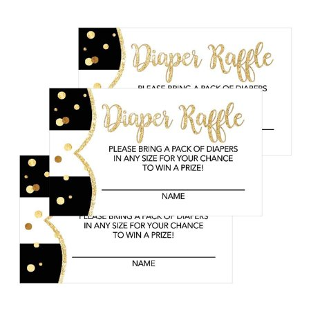 25 Black Diaper Raffle Ticket Lottery Insert Cards For Girl or Boy Baby Shower Invitations, Supplies and Games For Neutral Gender Reveal Party, Bring a Pack of Diapers to Win Favors, Gifts and Prizes - Ticket Invitations