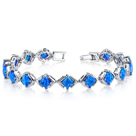 Engagement Princess Bracelet - Created Blue Opal Tennis Bracelet Sterling Silver Princess Cut 5.50 Carats