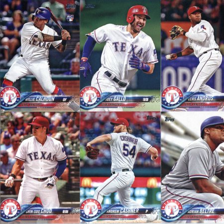 Texas Rangers Baseball Cards (2018 Topps Texas Rangers Team Set of 10 Baseball Cards (Series 1): Joey Gallo(#12), Rougned Odor(#56), Nomar Mazara(#133), Shin-Soo Choo(#199), Andrew Cashner(#208) plus)