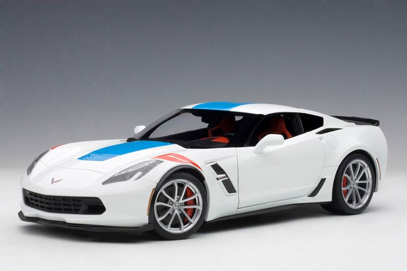 2017 Chevrolet Corvette C7 Grand Sport White with Blue Stripe and Red Fender Hash Marks 1 18 Model Car by... by Autoart