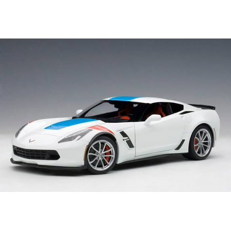 Red Corvette Model Car (2017 Chevrolet Corvette C7 Grand Sport White with Blue Stripe and Red Fender Hash Marks 1/18 Model Car by Autoart )