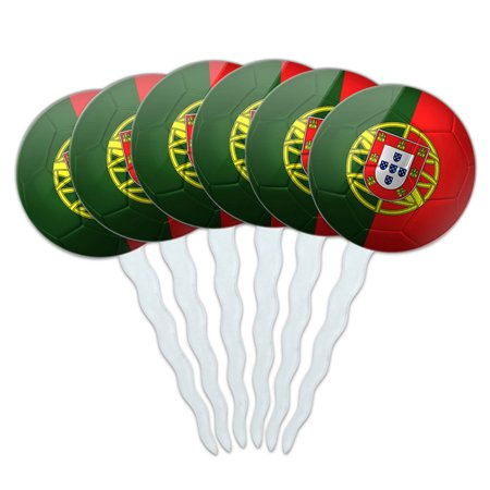 Portugal Flag Soccer Ball Futbol Football Cupcake Picks Toppers - Set of 6 - Soccer Cupcake Toppers