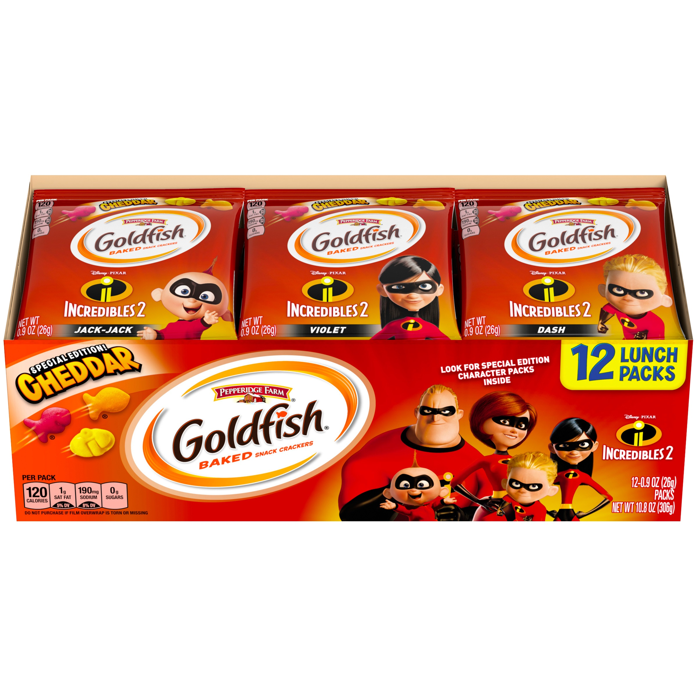 Pepperidge Farm Goldfish Incredibles 2 Baked Cheddar Snack Crackers Special Edition!, 0.9 Oz., 12 Count