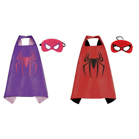 Spidergirl & Spiderman Costumes - 2 Capes, 2 Masks with Gift Box by Superheroes](Spider Cape)