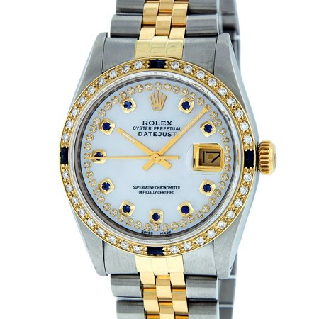 Pre-Owned Rolex Mens Datejust Steel & 18K Yellow Gold Mother of Pearl String Diamond & Sapphire Watch 16013 Jubilee