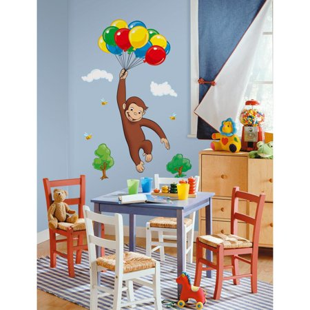 CURIOUS GEORGE Giant WALL DECALS Peel & Stick Kids Room Monkey -
