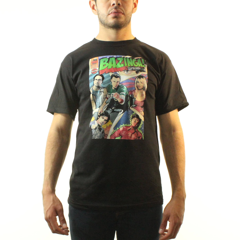 The Big Bang Theory T Shirt Bazinga Comic Book Cover Official Mens New Black