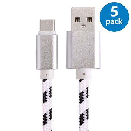 5X 3Ft Usb Type C Cable Fast Charging Cable Usb C Type C 3 1 Nylon Braided Data Sync Charger Cord For Lg G5 G6 V20 Samsung Galaxy S8 S8  Nexus 5X 6P Htc M10 Google Pixel Xl One Plus 2 3 White