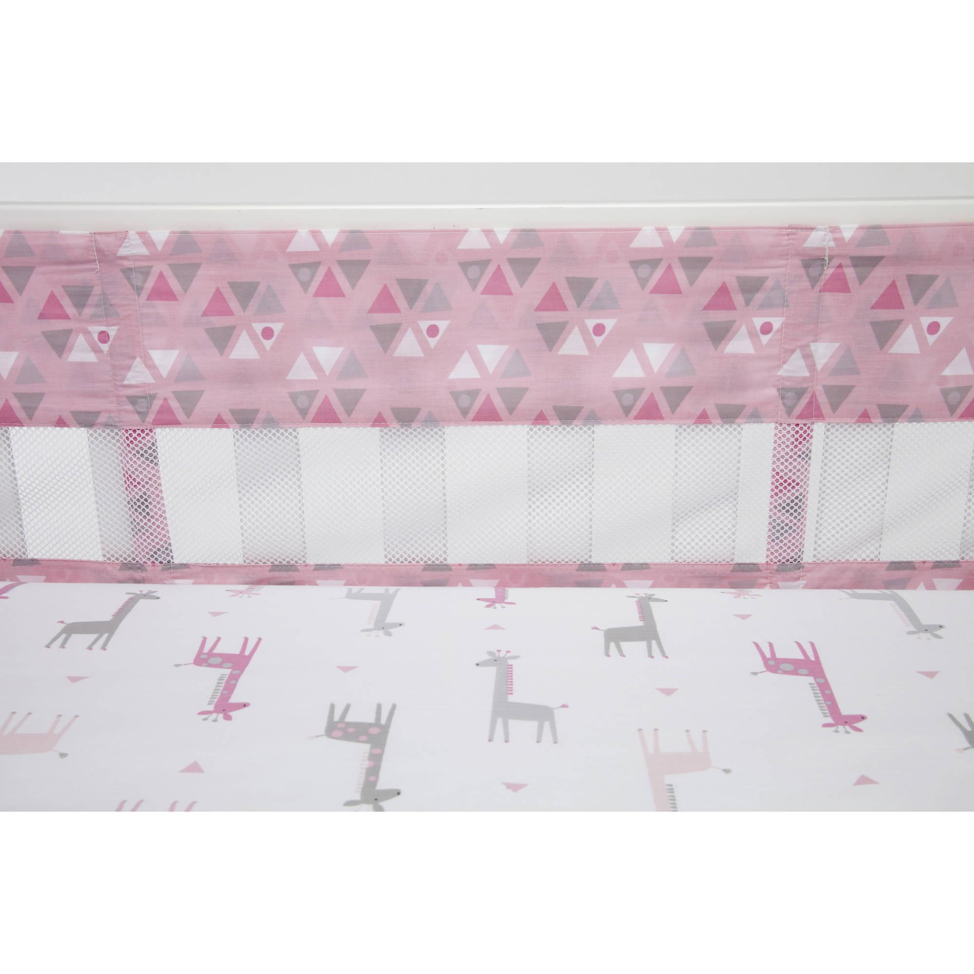 Little Love by NoJo Giraffe Time Pink Crib Liner