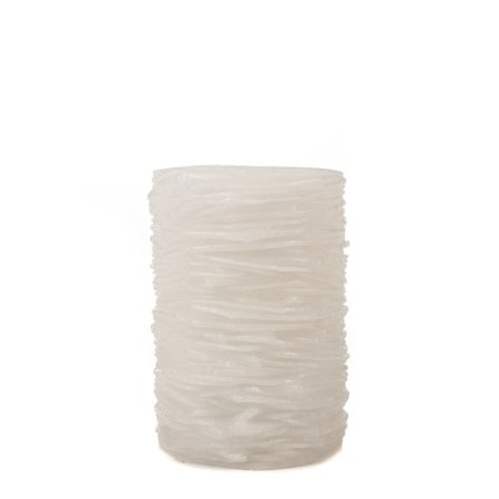 The Amazing Flameless Candle Wax Pillar, Layered, White, Unscented, 10mm LED, 4, 6- and 8-Hour Timer and Remote Ready