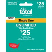 Total Wireless $25 Unlimited Individual 30-Day Prepaid Plan (1GB at High Speeds, then 2G) e-PIN Top Up (Email Delivery)
