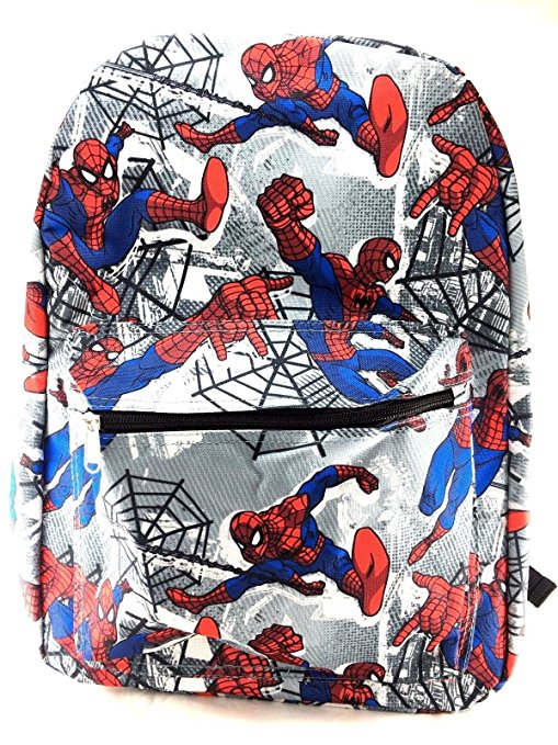 "Spiderman Black Allover Print 16"" Boys Large School Backpack-Grey"