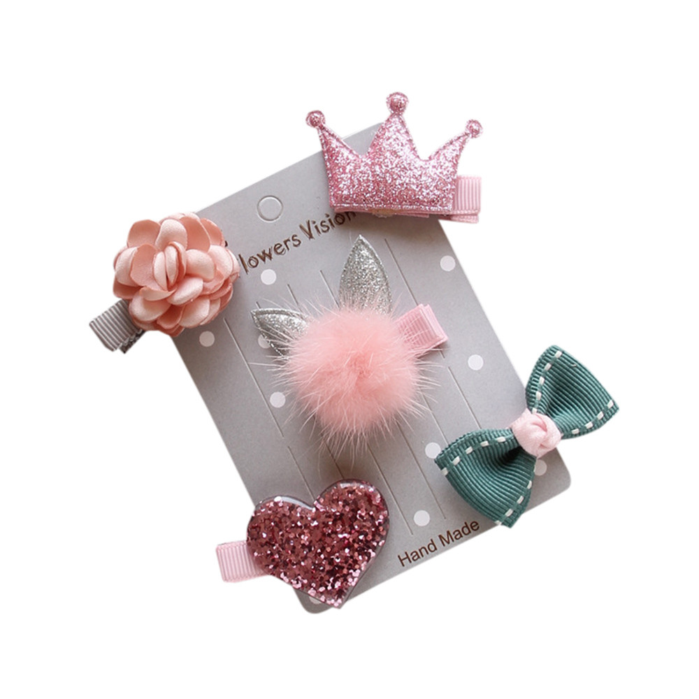 Outtop 5Pcs Kids Infant Hairpin Baby Girl Bow Flower Barrettes Star Hair Clip Set