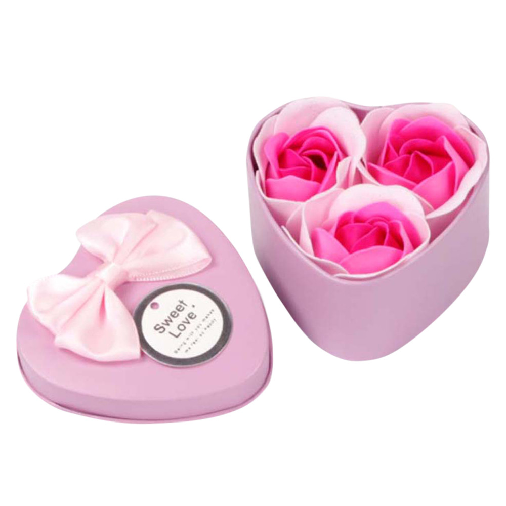 Mosunx 3Pcs Heart Scented Bath Body Petal Rose Flower Soap Wedding Decoration Gift PP