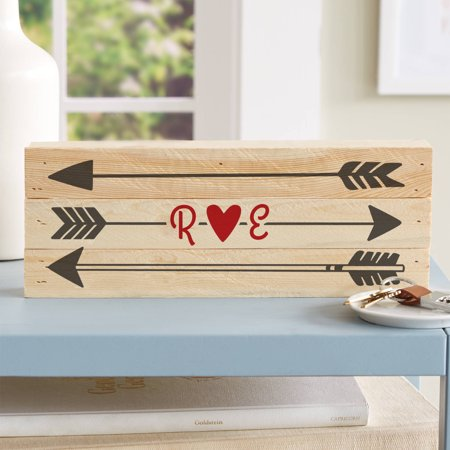Personalized Initial Arrow Wood Sign