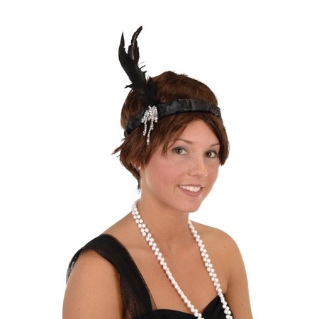 Club Pack of 12 Black Satin, Feather and Jewel Flapper Headband Costume Accessories