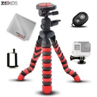 """Zeikos 12"""" inch Flexible Tripod Wrappable Leg Kit Bubble Level Indicator, Comes Bluetooth Remote Control Camera Shutter, Smartphone - GoPro Mount and Miracle Fiber Microfiber Cloth"""