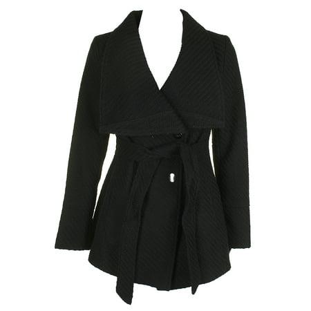 Inc International Concepts Black Asymmetrical Belted Textured Knit Walker Jacket