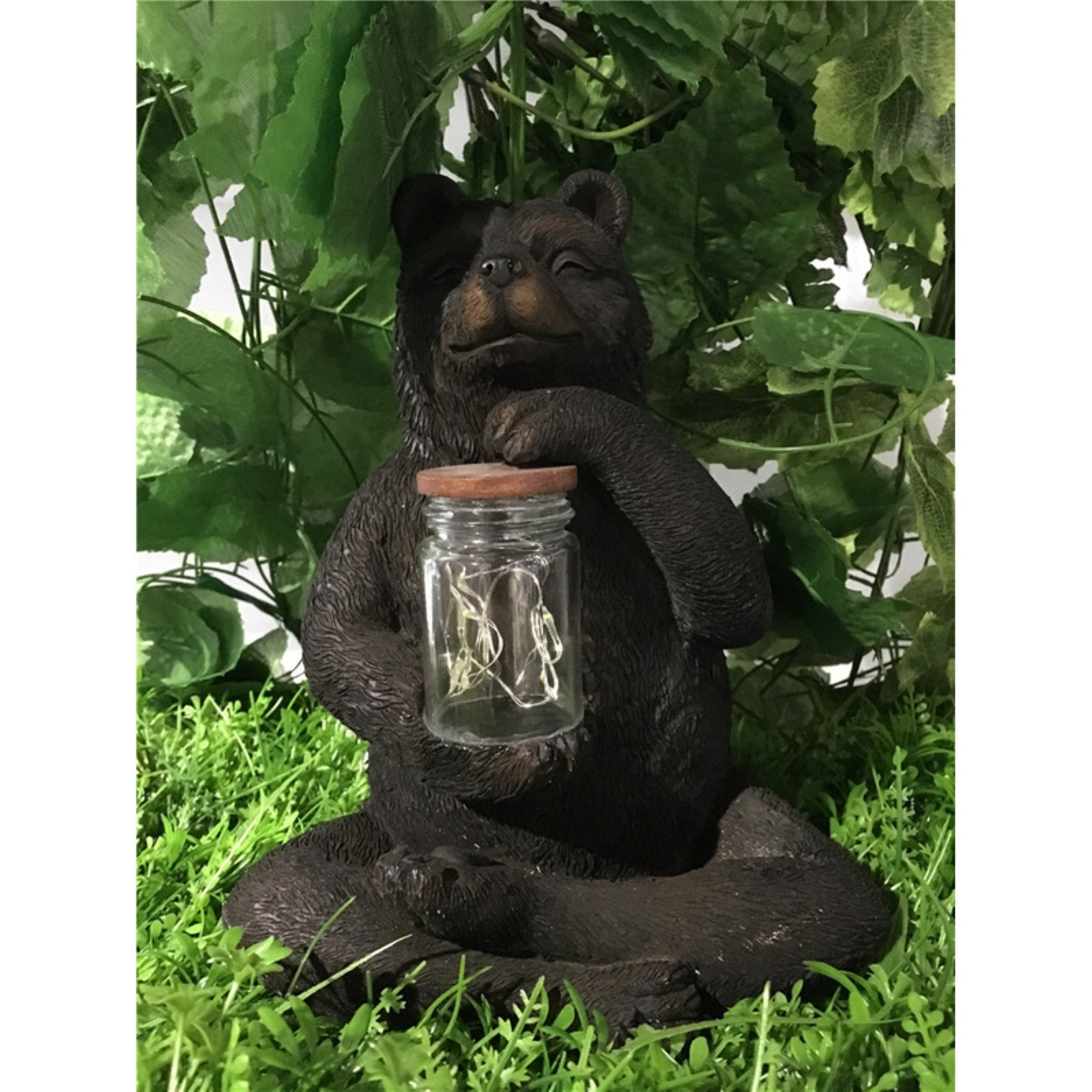 BEAR SITTING WITH FAIRY LIGHT IN JAR