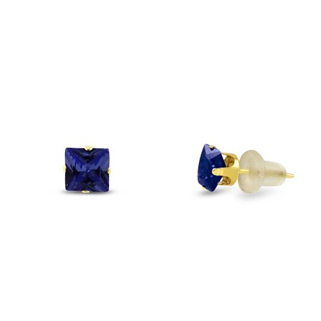 Simulated 2x2mm Square Princess Cut Blue Sapphire Solid 10K Yellow Gold 4-Prong Set Baby Stud - Cut Blue Sapphire Earrings