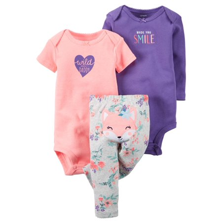 Carters Baby Clothing Outfit Girls 3-Piece Little Character Set Wild Fox, Purple