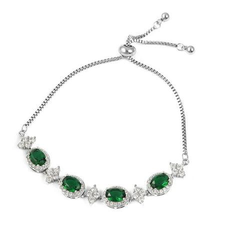Green Glass White Cubic Zirconia CZ Magic Bolo Bracelet Adjustable Cttw 6.7