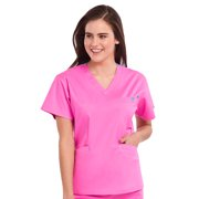 Med Couture Women's Classic Signature V-Neck Solid Scrub Top Large Wine/Powder Pink
